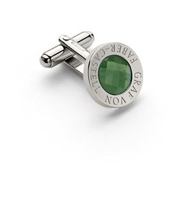 Graf-von-Faber-Castell - Cufflinks round, platinum-plated with faceted jade